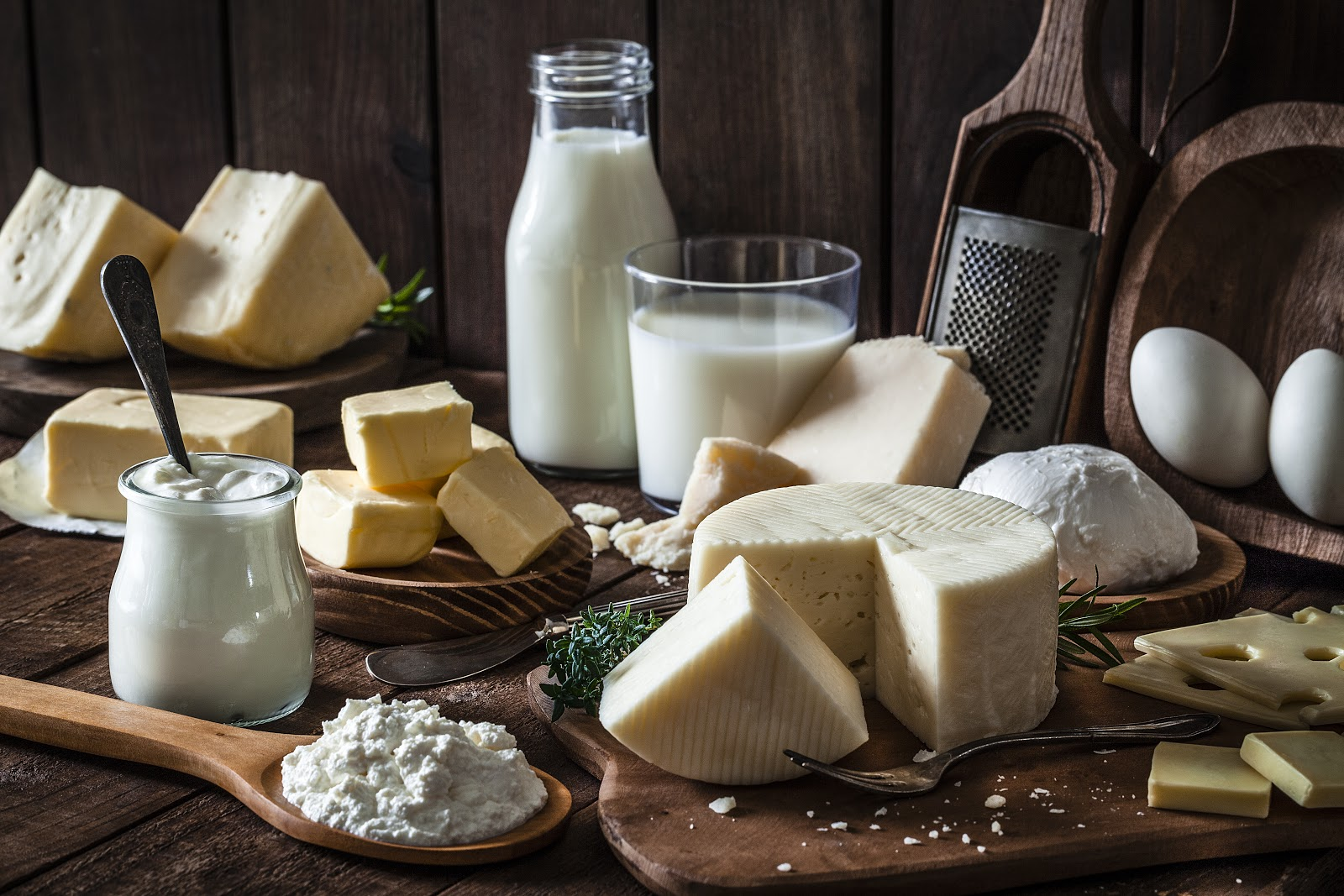 Dairy on display with milk bottle, cut cheeses, cottage cheese, butter and eggs.